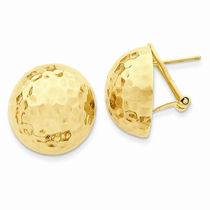 14k Yellow Gold Hammered 19mm Half Ball Omega Post Earrings