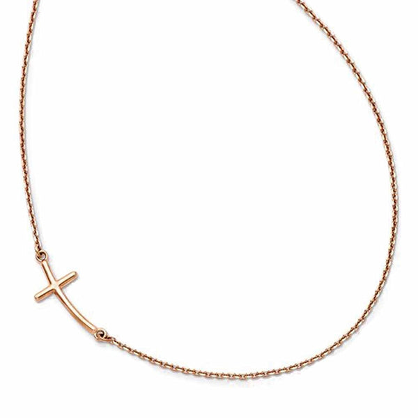 14k Rose Gold Sideways Curved Cross Necklace 19 Inches