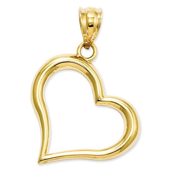 14k Yellow Gold Heart Open Back Pendant Charm