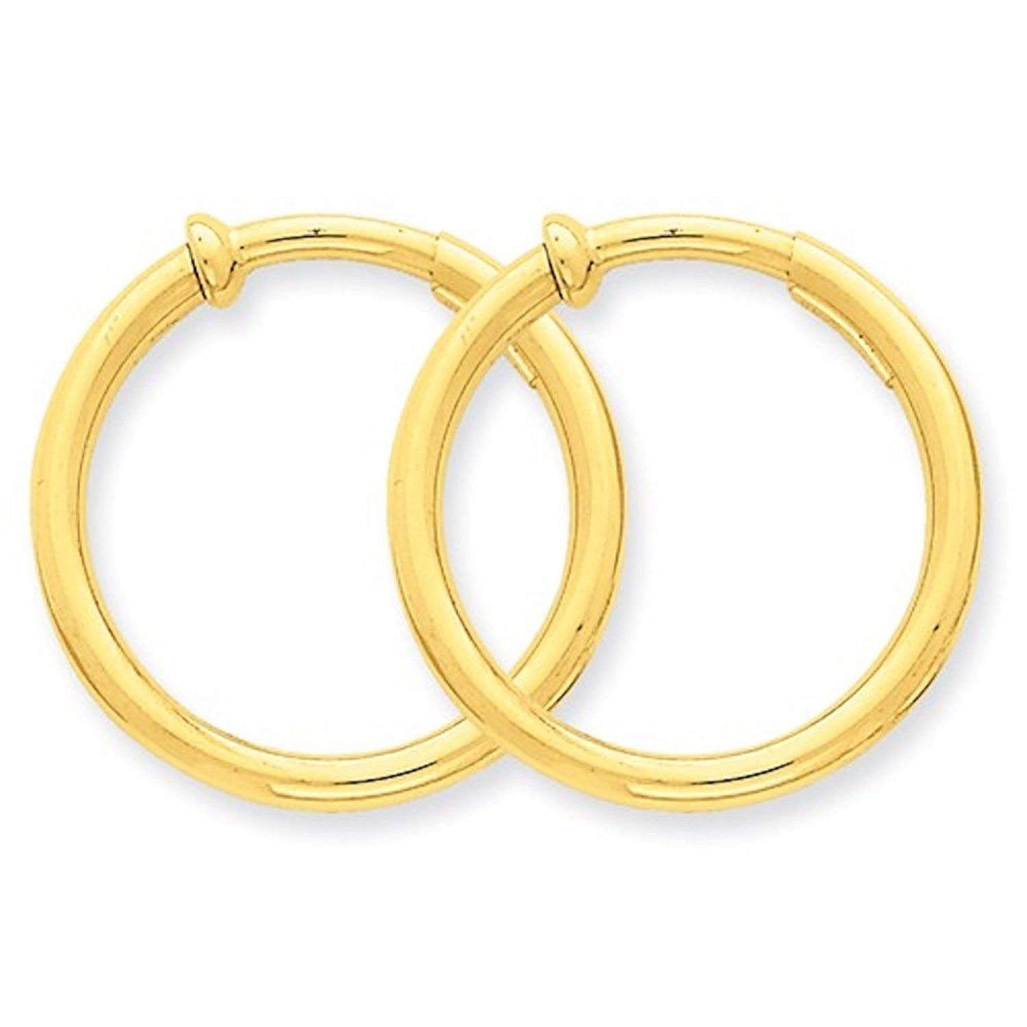 14K Yellow Gold 25mm x 2.5mm Non Pierced Round Hoop Earrings