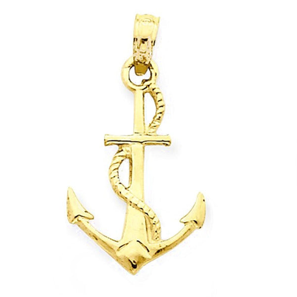 14k Yellow Gold Anchor with Rope 3D Pendant Charm