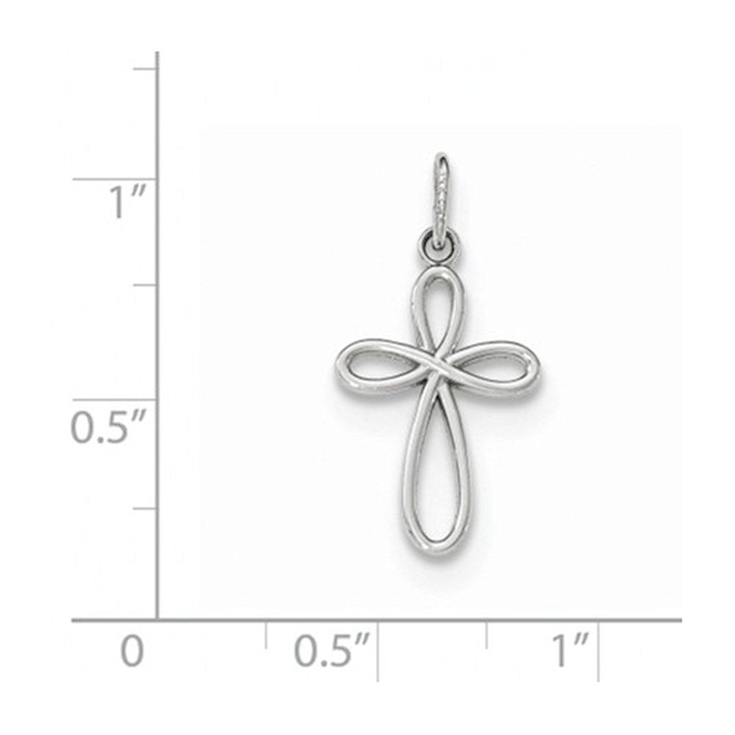 14k White Gold Ribbon Cross Small Pendant Charm