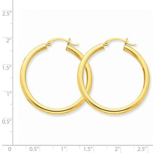14K Yellow Gold 35mm x 3mm Lightweight Round Hoop Earrings