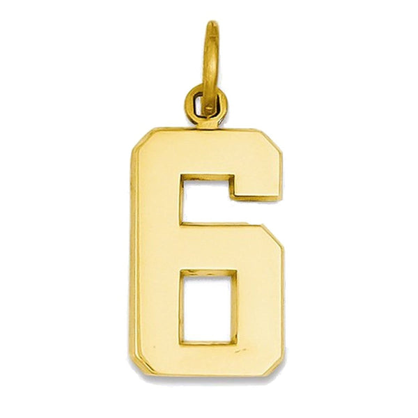 14k Yellow Gold Number 6 Six Pendant Charm