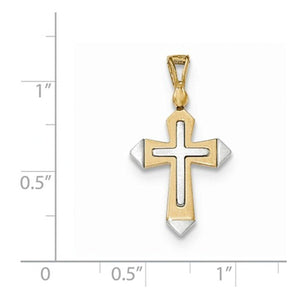 14k Gold Two Tone Passion Cross Flat Back Pendant Charm