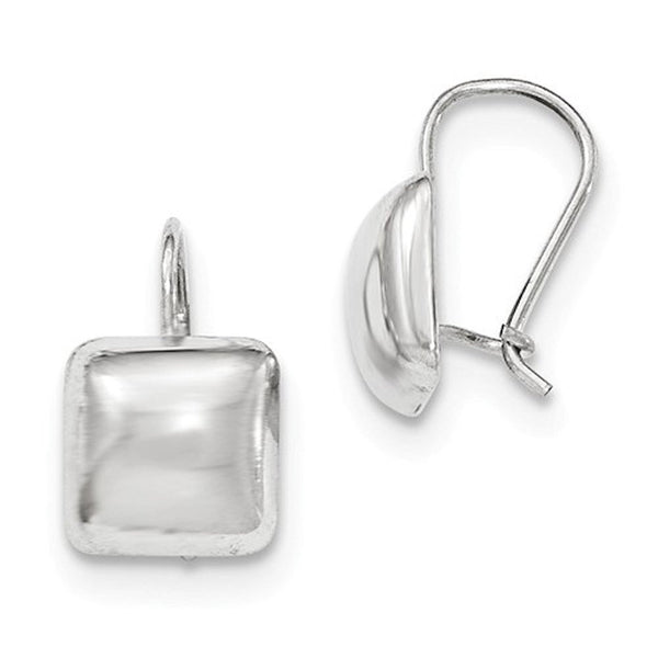 14k White Gold Square Button 10mm Kidney Wire Button Earrings