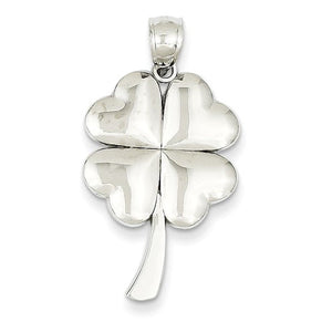 14k White Gold Good Luck Four Leaf Clover Pendant Charm