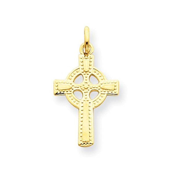 14k Yellow Gold Celtic Cross Pendant Charm