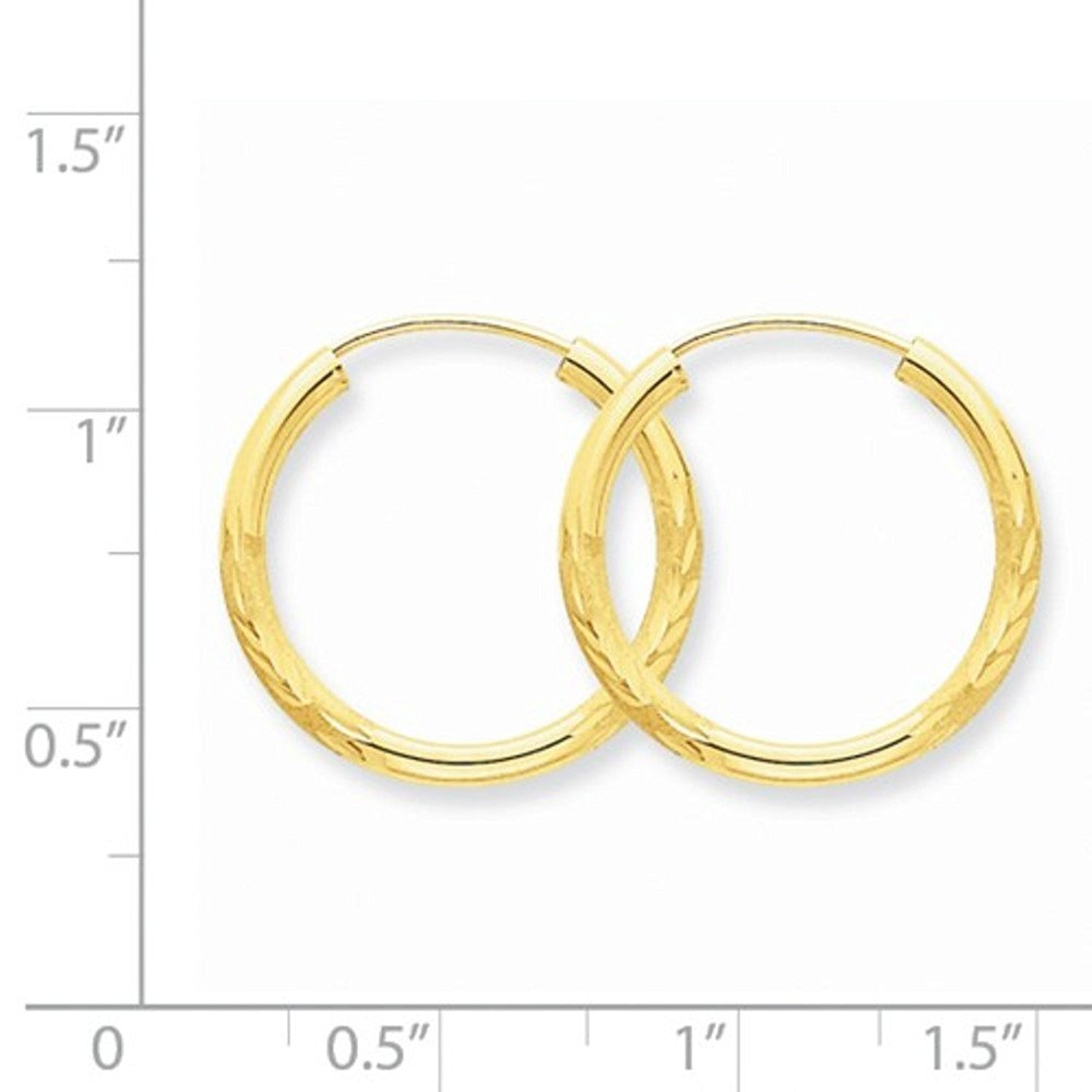 14K Yellow Gold 18mm Satin Textured Round Endless Hoop Earrings
