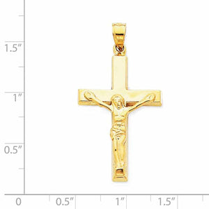 14k Yellow Gold Cross Crucifix Hollow Pendant Charm