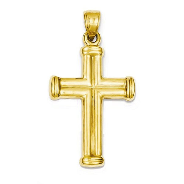 14k Yellow Gold Cross 3D Hollow Pendant Charm