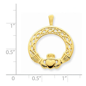 14k Yellow Gold Claddagh Pendant Charm