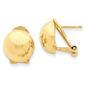 14k Yellow Gold Polished 12mm Half Ball Omega Clip Earrings