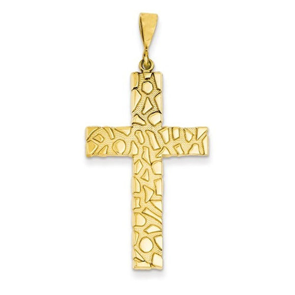 14k Yellow Gold Nugget Style Cross Pendant Charm