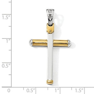 14k Gold Two Tone Cross Pendant Charm