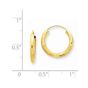 14K Yellow Gold 13mm Satin Textured Round Endless Hoop Earrings