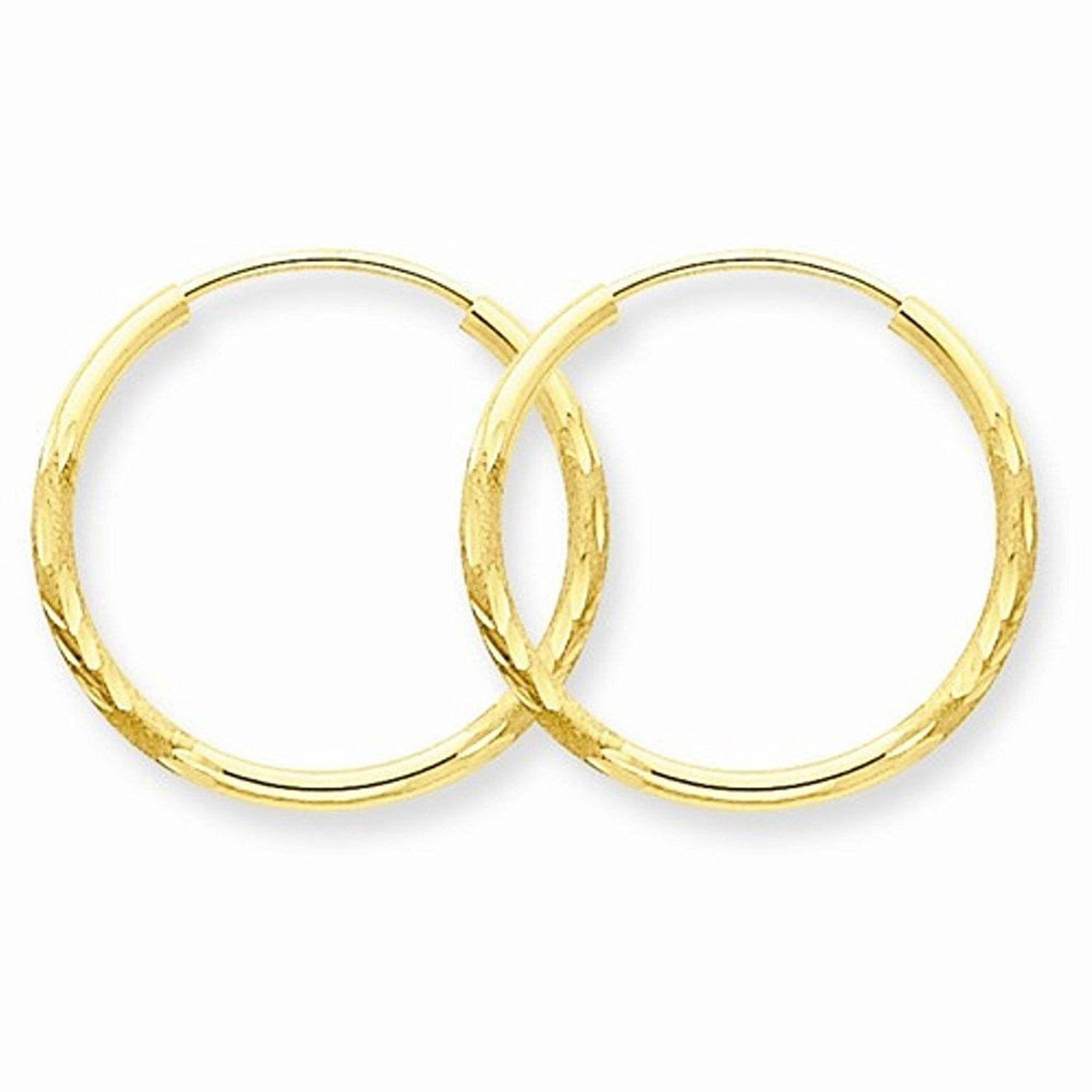 14K Yellow Gold 17mm x 1.5mm Round Endless Hoop Earrings