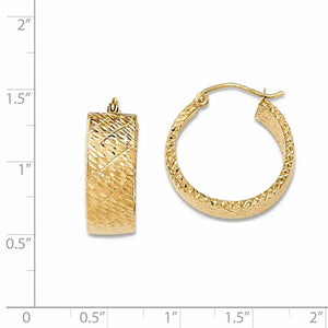 14K Yellow Gold Modern Contemporary Round Hoop Earrings