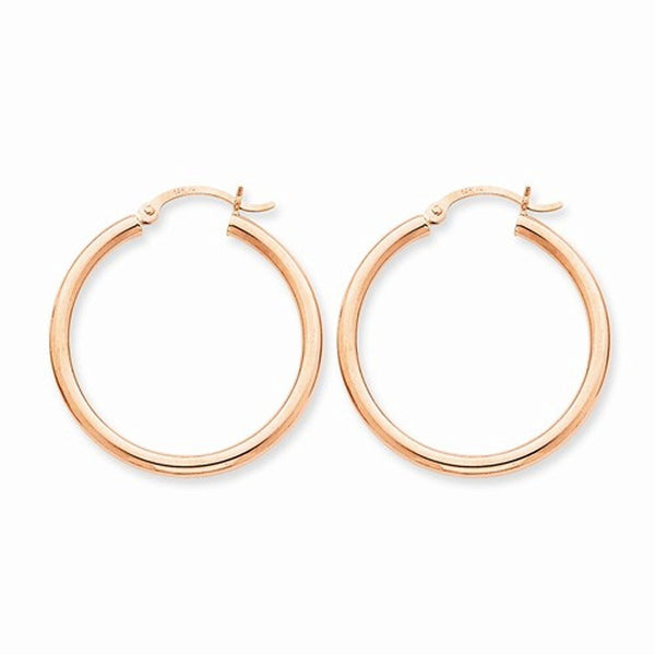 14K Rose Gold 30mm x 2.5mm Classic Round Hoop Earrings