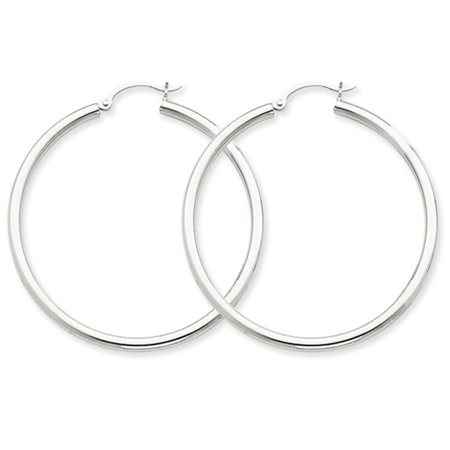 14K White Gold 45mm x 2.5mm Classic Round Hoop Earrings
