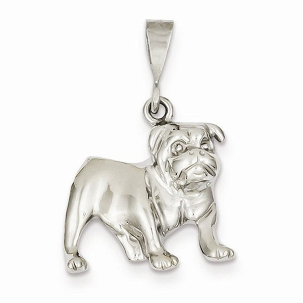 14k White Gold Bulldog Open Back Pendant Charm