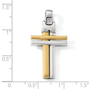 14k Gold Two Tone Double Cross Pendant Charm
