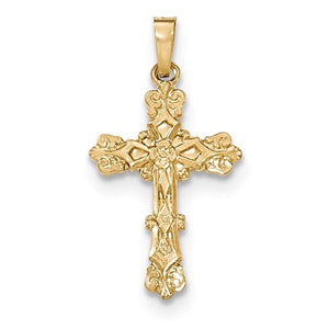 14k Yellow Gold Budded Passion Cross Pendant Charm