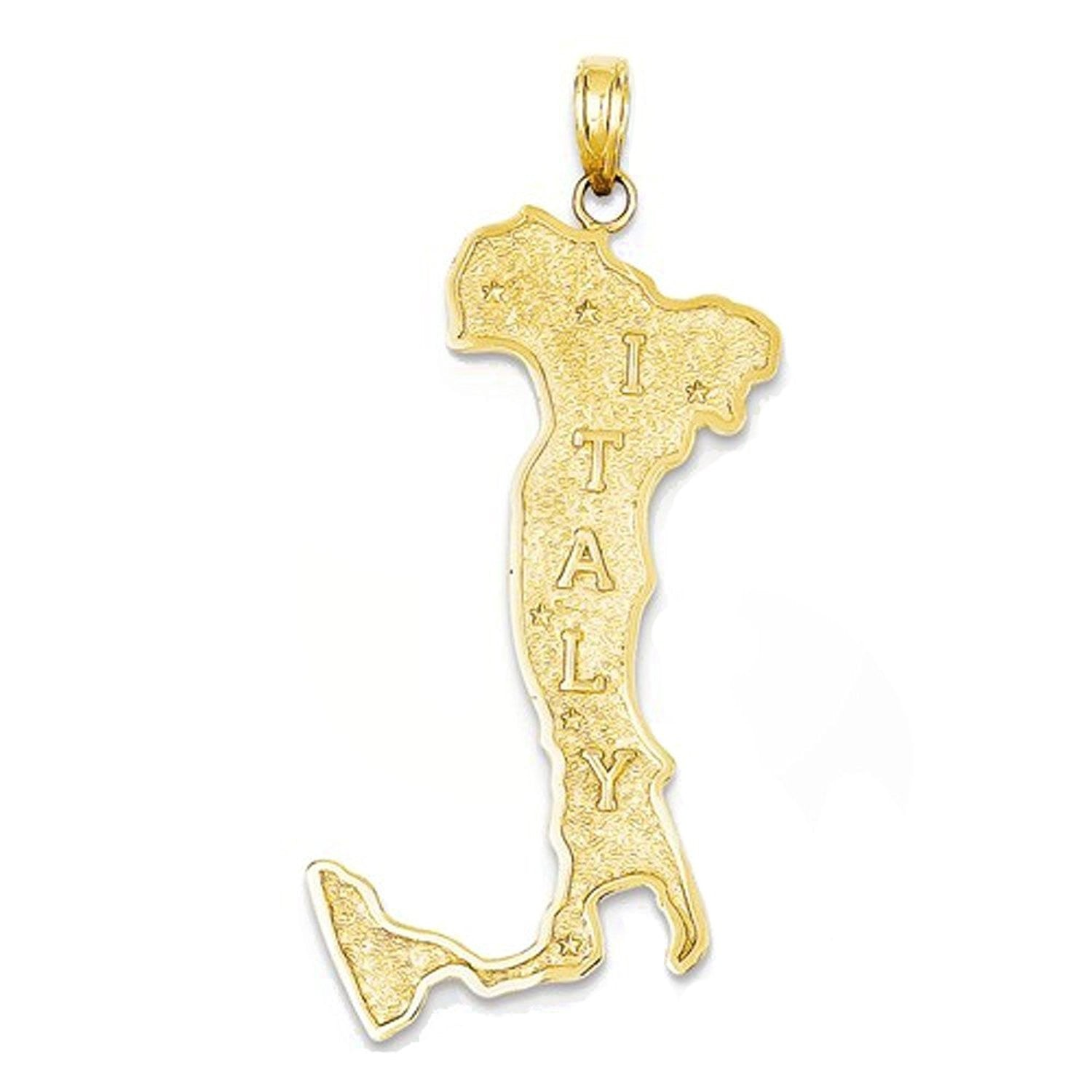 14k Yellow Gold Italy Map Large Pendant Charm