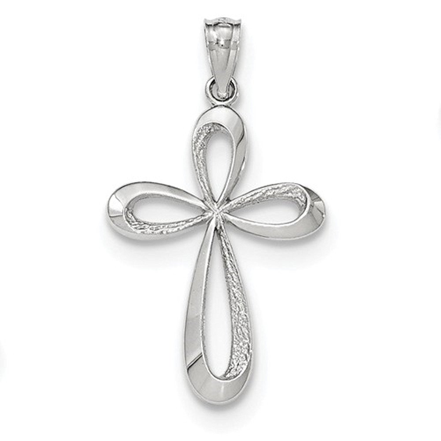 14k White Gold Ribbon Cross Pendant Charm