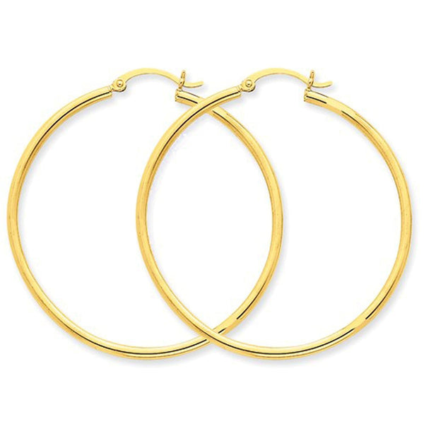 14K Yellow Gold 42mmx2mm Lightweight Classic Round Hoop Earrings