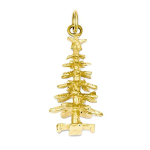 14k Yellow Gold Christmas Tree 3D Pendant Charm