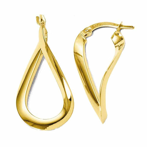 14K Yellow Gold Modern Classic Twisted Hoop Earrings