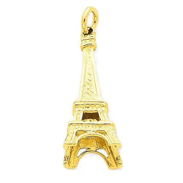 14k Yellow Gold Paris Eiffel Tower 3D Pendant Charm
