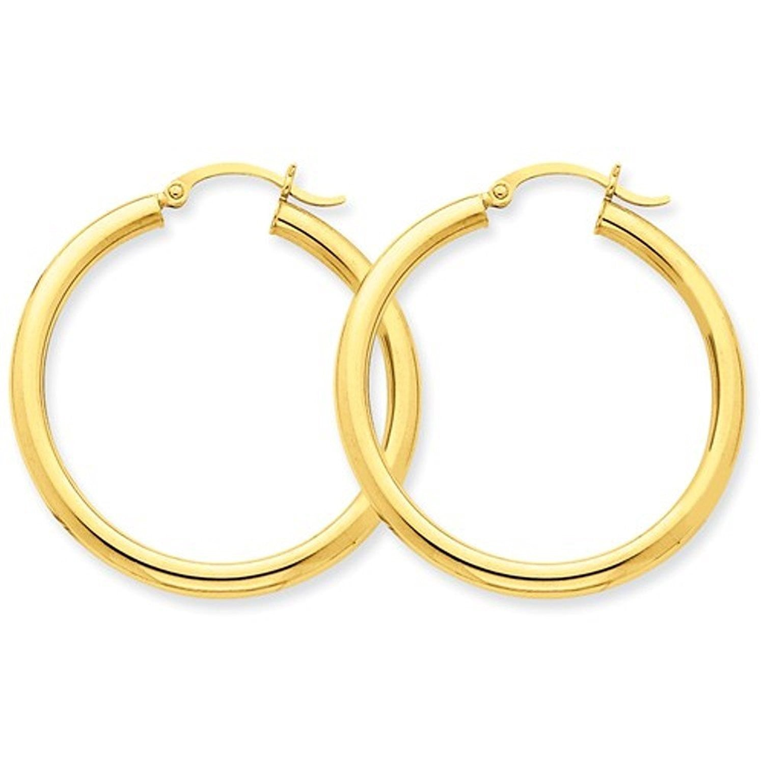 14K Yellow Gold 35mm x 3mm Classic Round Hoop Earrings