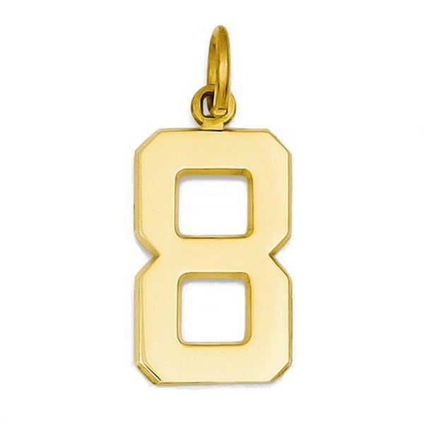 14k Yellow Gold Number 8 Eight Pendant Charm