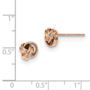 14k Rose Gold Classic Polished Love Knot Stud Post Earrings