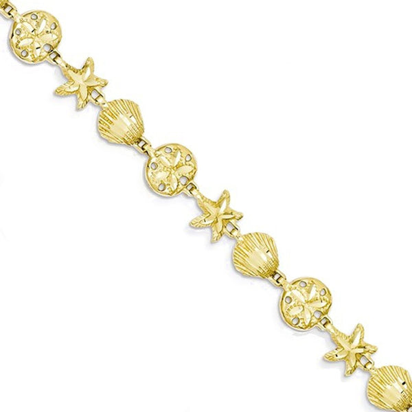 14k Yellow Gold Sea Life Starfish Shell Bracelet 7 inch
