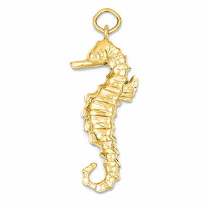 14k Yellow Gold Seahorse Open Back Pendant Charm