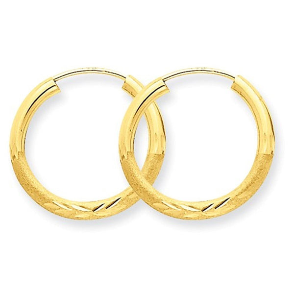 14K Yellow Gold 15mm Satin Textured Round Endless Hoop Earrings