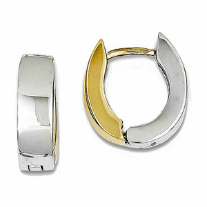 14k Gold Two Tone Classic Hinged Hoop Huggie Earrings