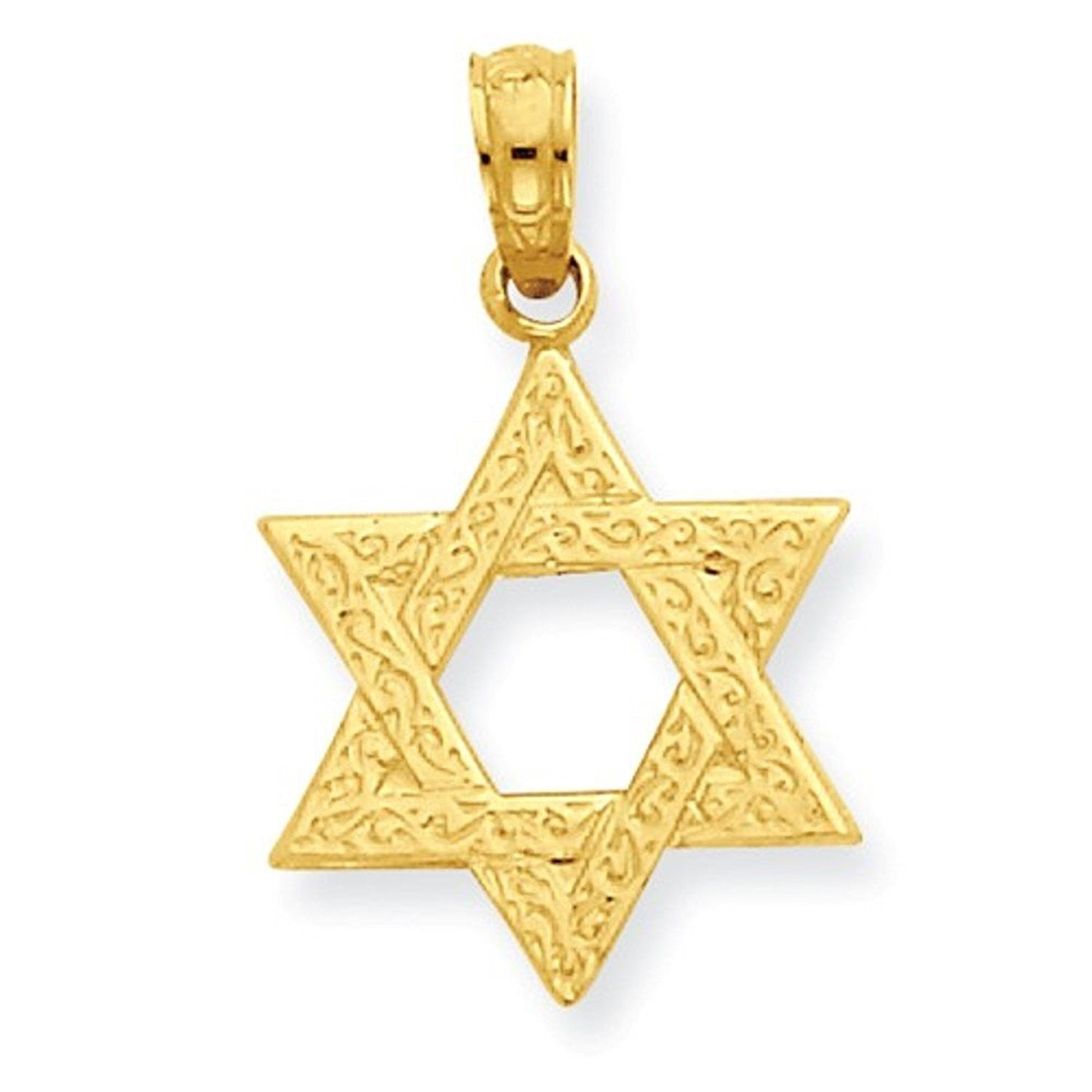 14k Yellow Gold Star of David Pendant Charm