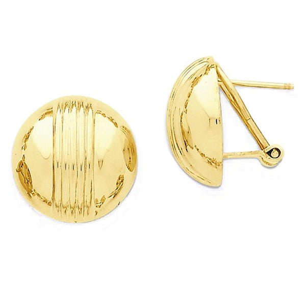 14k Yellow Gold Striped 16mm Half Ball Omega Post Earrings