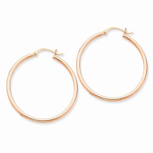 14K Rose Gold 34mm x 2mm Classic Round Hoop Earrings