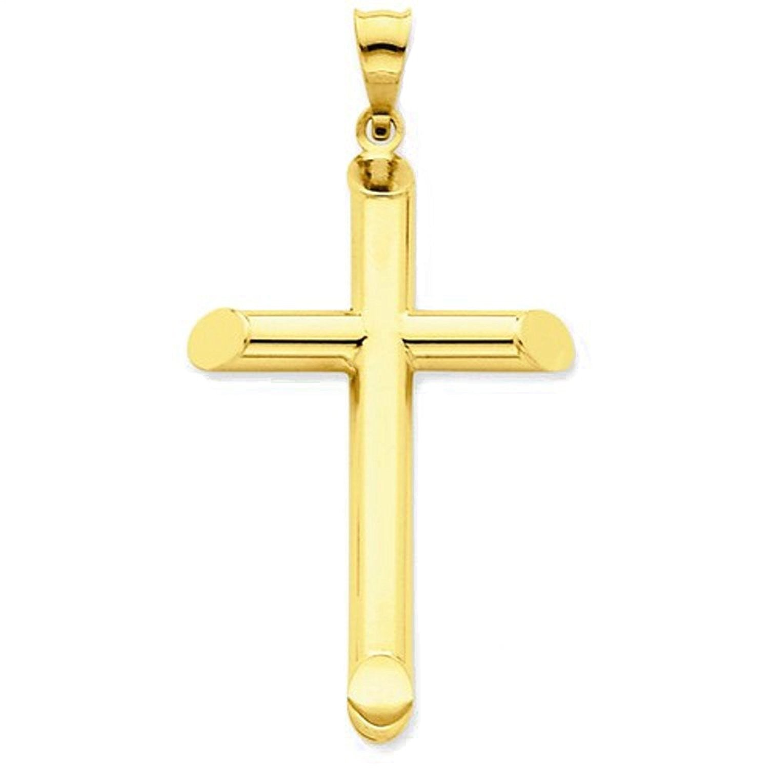 14k Yellow Gold Cross Polished 3D Hollow Pendant Charm