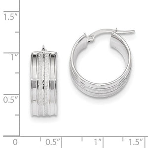 14K White Gold 18mmx7.8mm Modern Contemporary Round Hoop Earrings