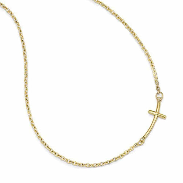 14k Yellow Gold Sideways Curved Cross Necklace 19 Inches
