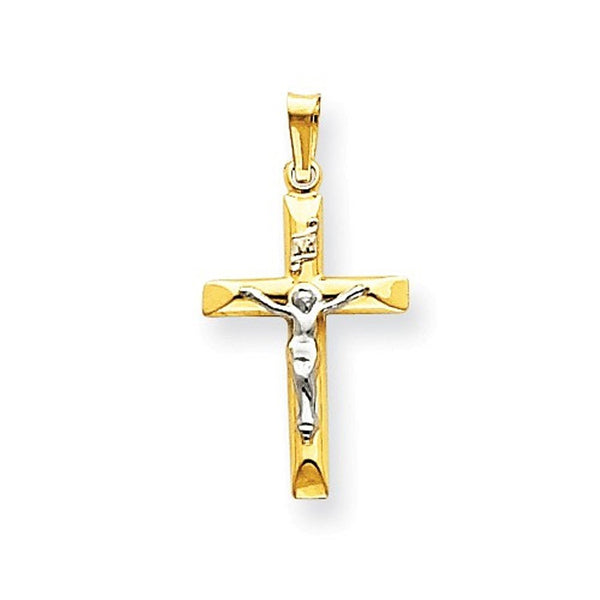 14k Gold Two Tone INRI Crucifix Cross Hollow Pendant Charm