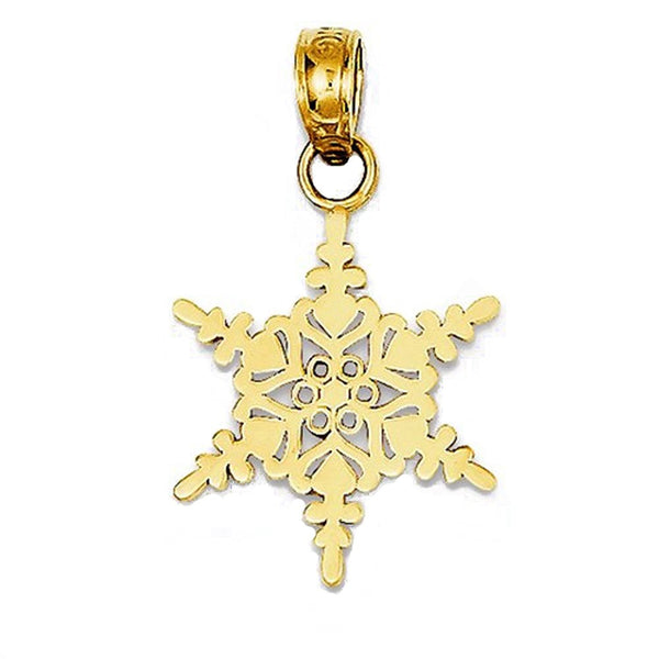 14k Yellow Gold Snowflake Small Pendant Charm