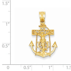 14k Yellow Gold Mariners Cross Crucifix Pendant Charm
