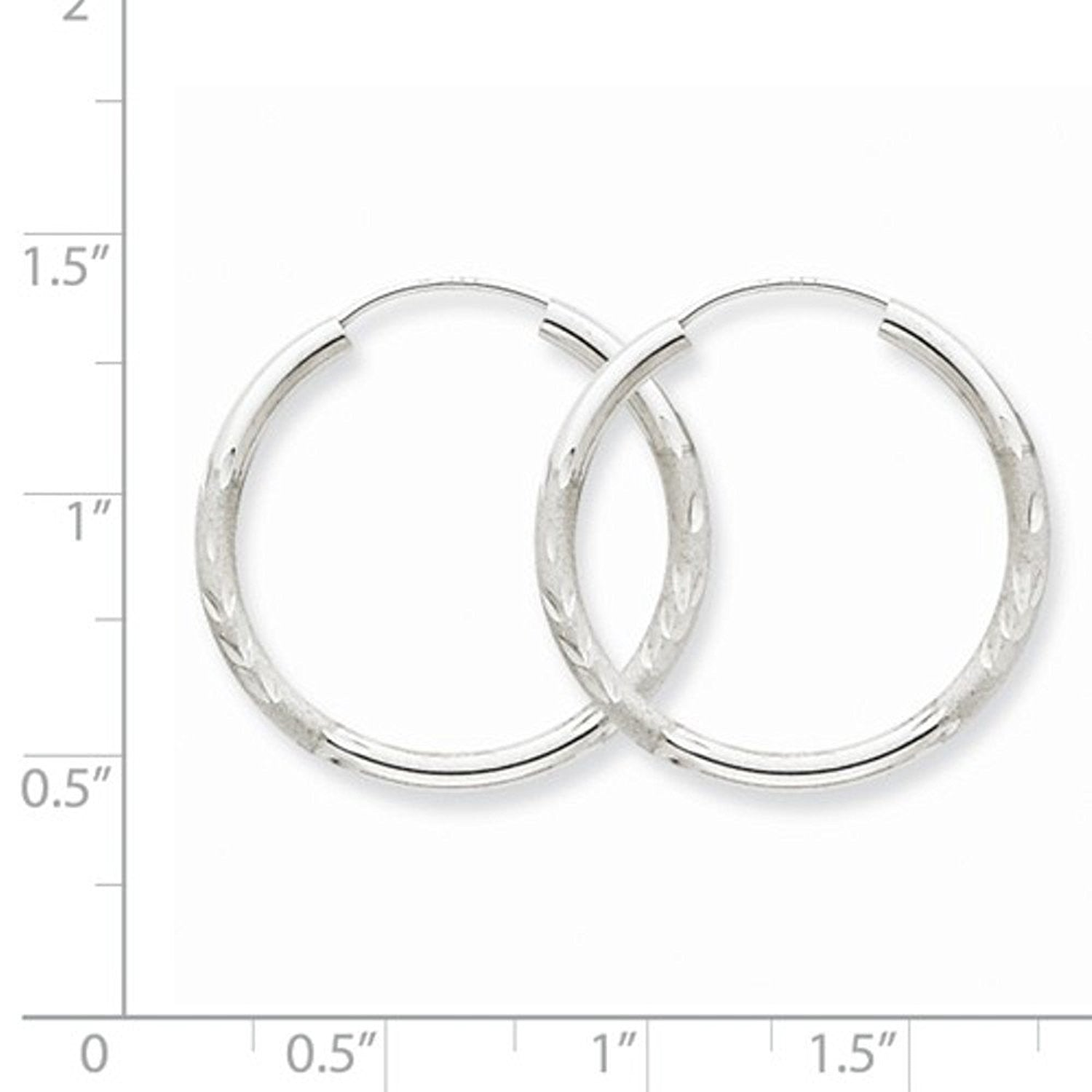 14K White Gold 23mm Satin Textured Round Endless Hoop Earrings